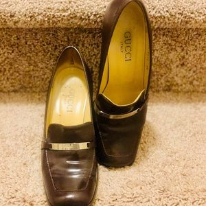 Gucci Shoes - Authentic Brown Gucci Loafers with Silver Emblem